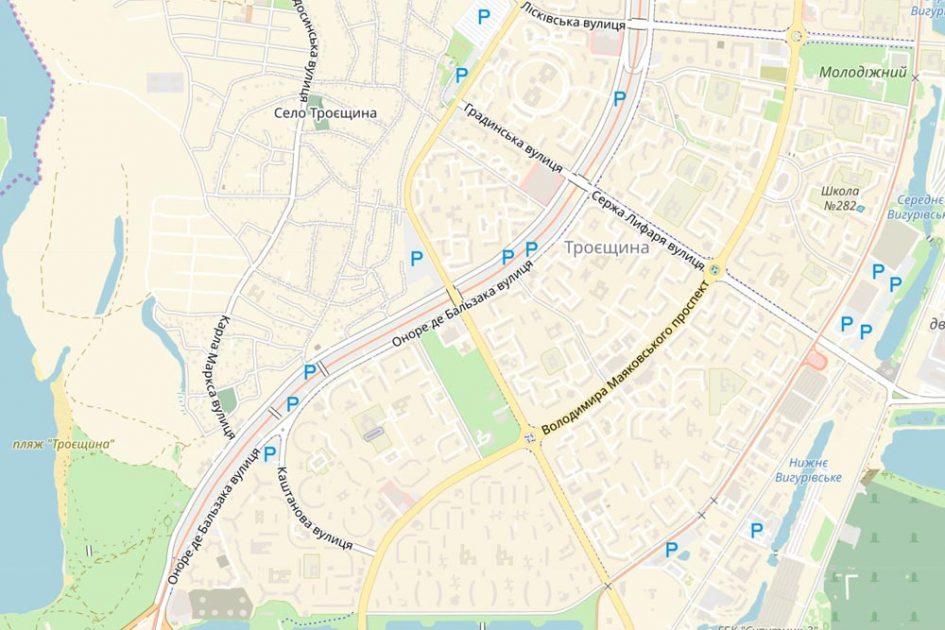 Карта Троещины (Киев) от Locator.ua