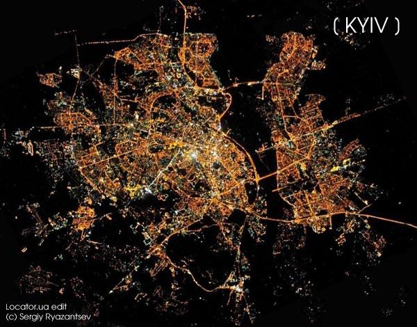Ночной Киев из космоса